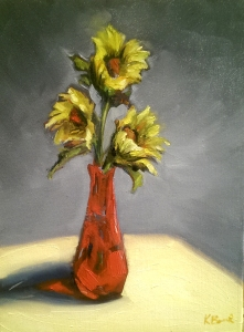 Kristie_Bernard_Sunflowers_in_red_vase_Oil_9x12